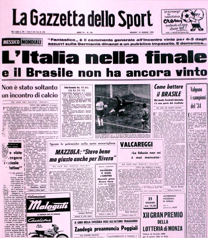 La Gazzetta dello Sport dopo Italia-Germania 4-3