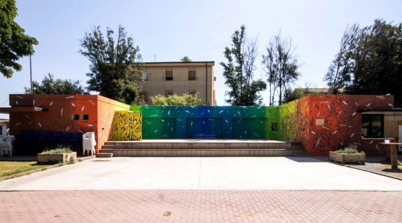 """Il dipinto realizzato dai bambini grazie all'artista """"Tellas"""" in occasione di """"TERRA LIBERA - una giornata per l'ambiente"""" (foto Tellas)"""