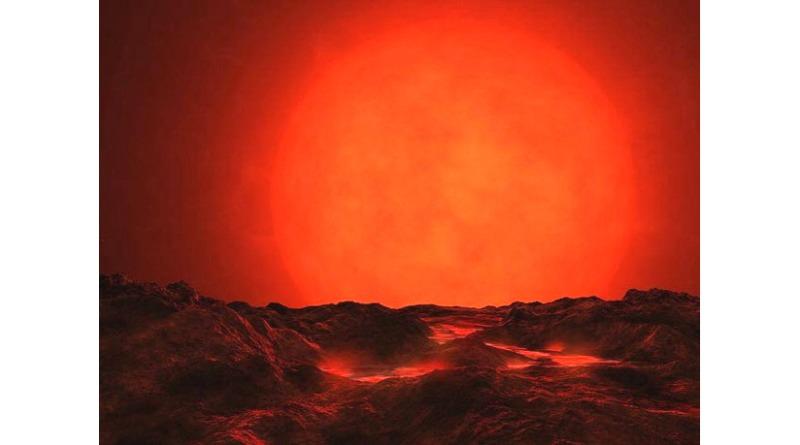 Rappresentazione artistica di come potrebbe apparire il pianeta Proxima b e il suo sole rosso