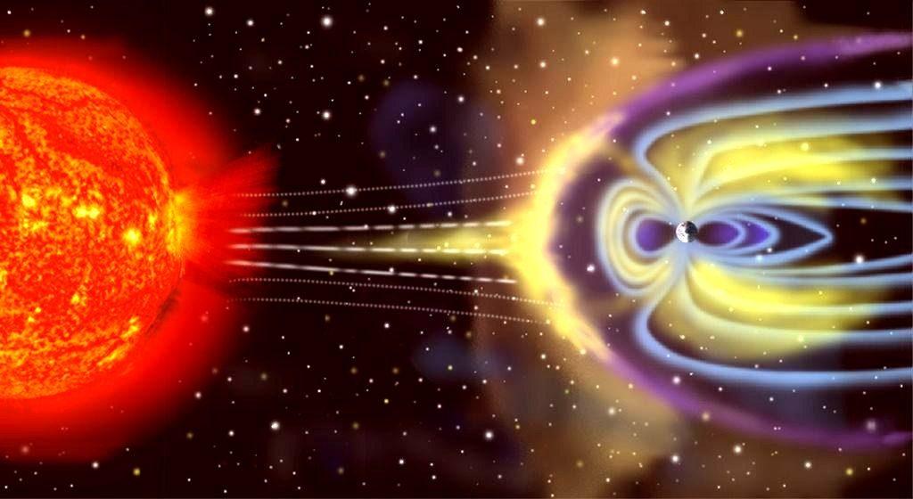 La tempesta magnetica proveniente dal Sole e a destra il campo magnetico terrestre che devia le radiazioni pericolose e difende la Terra