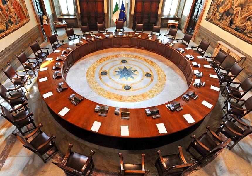 La sala del Consiglio dei Ministri