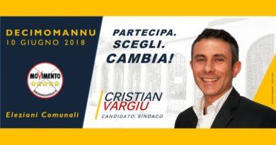 Cristian Vargiu, candidato sindaco a Decimomannu