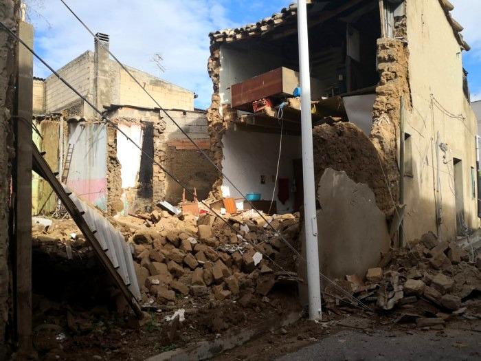 L'abitazione crollata in via Isonzo ad Assemini (foto VVF)