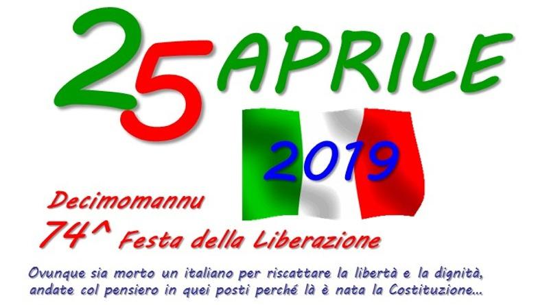Decimomannu, il 25 aprile la 74ª Festa della Liberazione