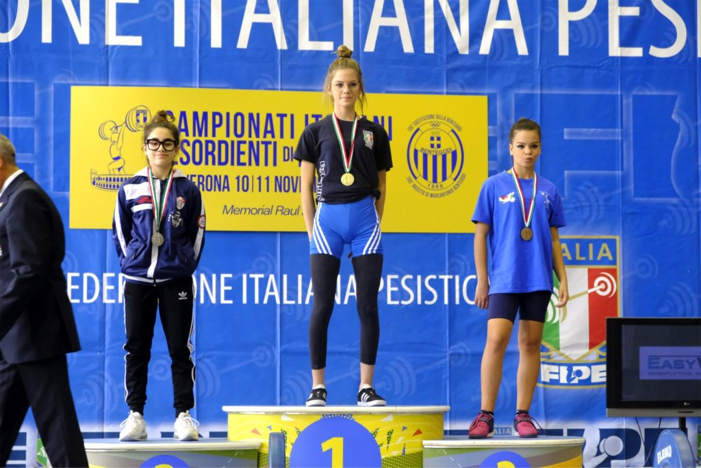 Il podio dei Campionati Italiani Esordienti : Asia occupa la seconda posizione