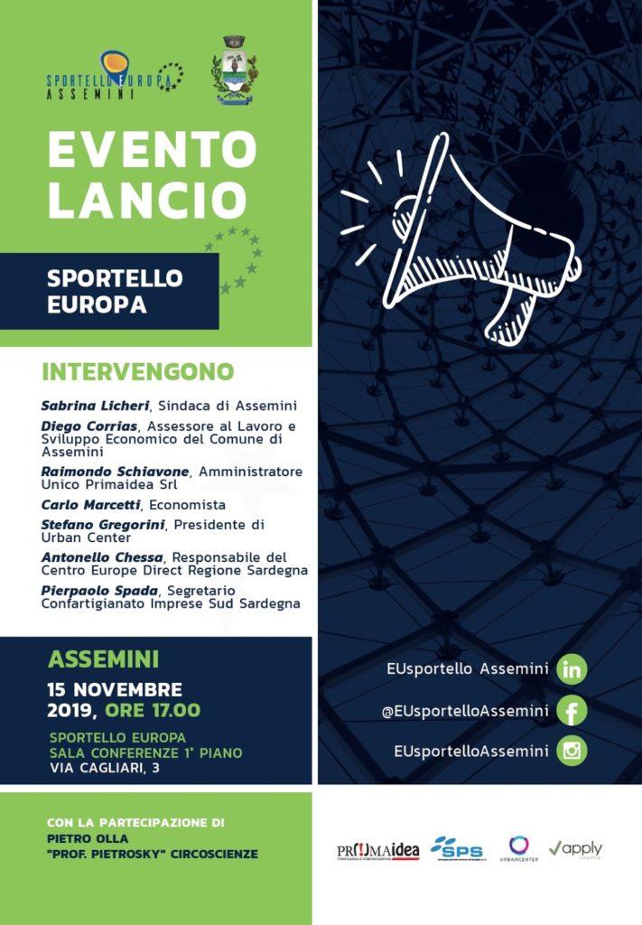 Locandina evento lancio Sportello Europa Assemini