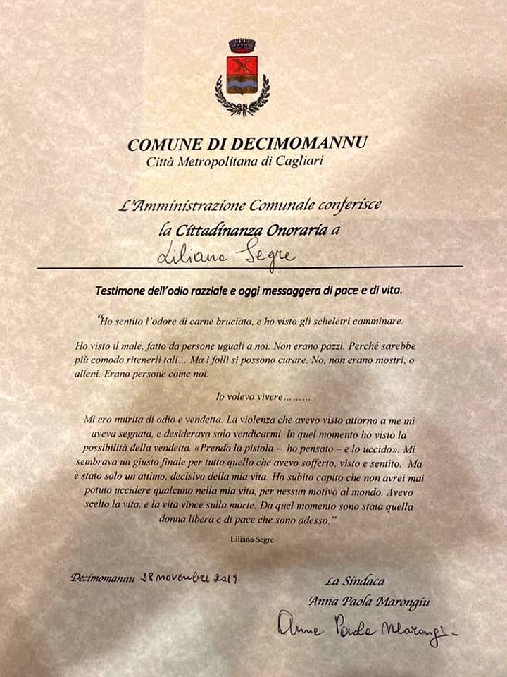 Conferimento cittadinanza onoraria alla Senatrice Liliana Segre