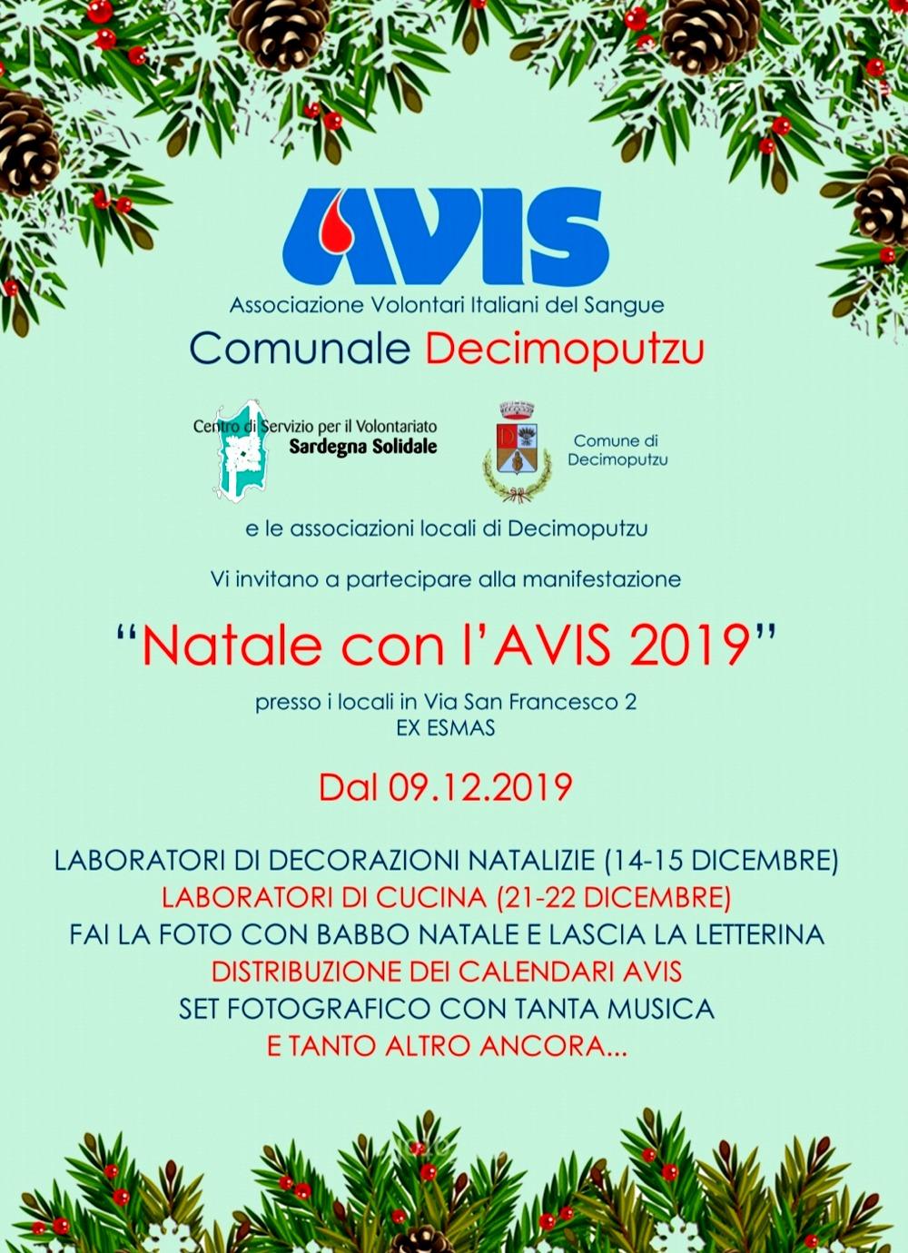 "Locandina Natale con l'AVIS 2019""Decimoputzu"