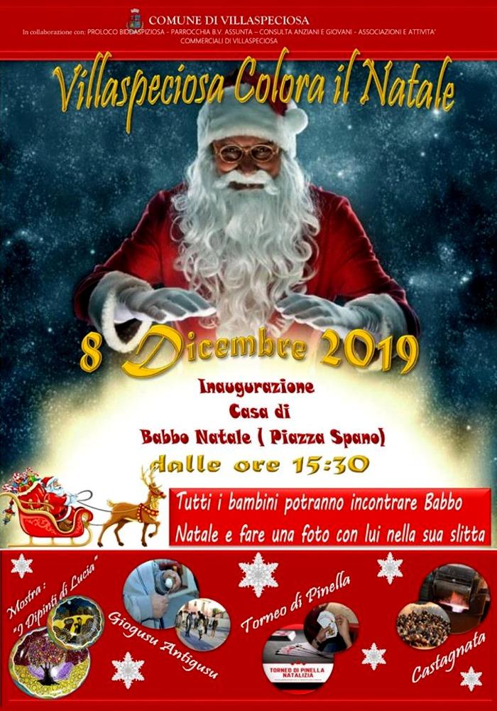 Locandina apertura casa di Babbo Natale Villaspeciosa 2019