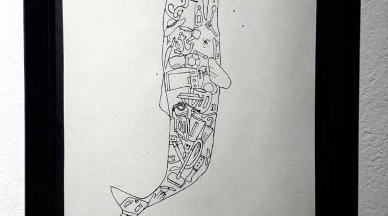 "Elisa Desortes, dettaglio di ""Homo Sapiens vs Cetacea"", disegno e china su carta, 2019"