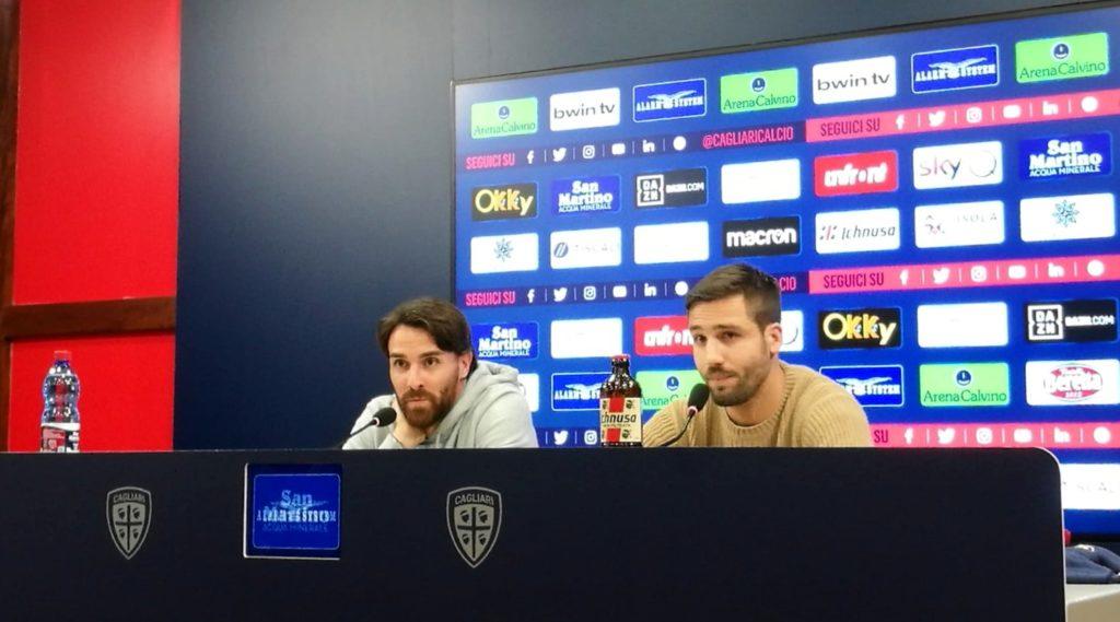 Luca Cigarini e Leonardo Pavoletti in conferenza stampa - foto Luca Pes