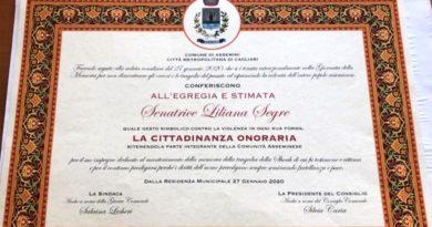 Liliana Segre è ufficialmente cittadina onoraria di Assemini