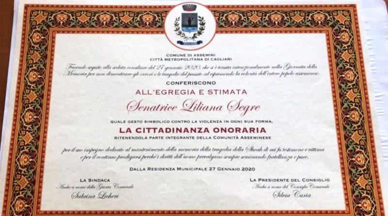 Pergamena cittadinanza onoraria Liliana Segre