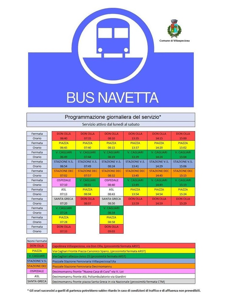 Tabella orari bus Villaspeciosa