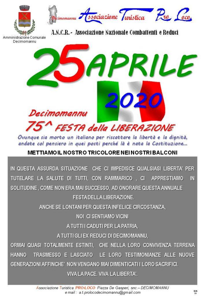25 aprile 2020 Festa della Liberazione Associazione Turistica Pro Loco Decimomannu