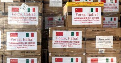 Donazione materiale sanitario Cina-Italia