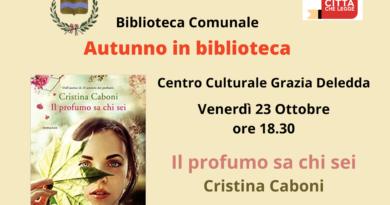 """Biblioteca Comunale Decimomannu. Venerdì 23 ottobre 2020, alle ore 18.30, la scrittrice Cristina Caboni, presenta il suo ultimo romanzo """"Il profumo sa chi sei"""""""