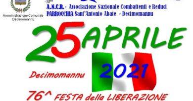 """Decimomannu 25 Aprile 2021 ore 12.00 """"76^ Festa della Liberazione"""""""